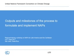 Outputs and milestones of the process to formulate and implement NAPs