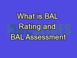 What is BAL Rating and BAL Assessment