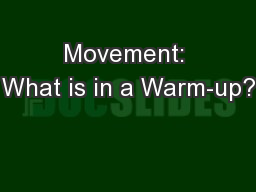 Movement: What is in a Warm-up?