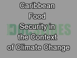 Improving Caribbean Food Security in the Context of Climate Change