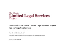 An introduction to the Limited Legal Services