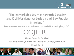 """The Remarkable Journey towards Equality and Civil Marriage for Lesbian and Gay People in Ireland"