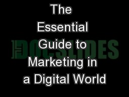 eMarketing : The  Essential Guide to Marketing in a Digital World