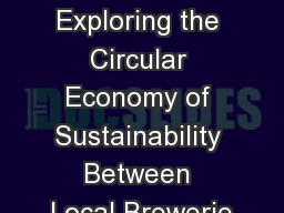 Beer, Beef and Biscuits – Exploring the Circular Economy of Sustainability Between Local Brewerie