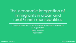 The economic integration of immigrants in urban and rural Finnish