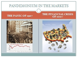 THE PANIC OF 1907 THE FINANCIAL CRISIS OF 2007