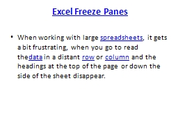 Excel Freeze Panes When working with large�