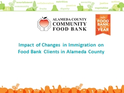 Impact of  Changes in Immigration on Food Bank Clients in Alame