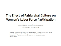 The Effect of Patriarchal Culture on Women's Labor Force Participation