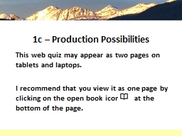 1c – Production Possibilities PowerPoint PPT Presentation