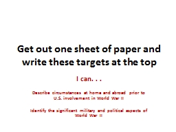 Get out one sheet of paper and write these targets at the top