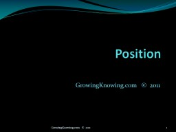 Position GrowingKnowing.com   ©  2011