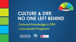 CULTURE & DRR: NO ONE LEFT BEHIND