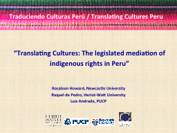 """Translating  Cultures: The legislated mediation of"