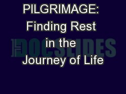 PILGRIMAGE: Finding Rest in the Journey of Life