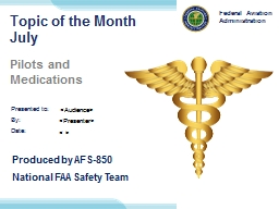 Topic of the Month July Pilots and Medications