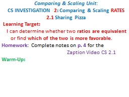 Comparing & Scaling Unit: