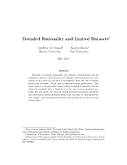 Bounded Rationality and Limited Datasets Georoy de Cli