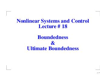 Nonlinear Systems and Control Lecture   Boundedness Ul