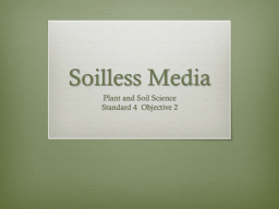 Soilless Media Plant and Soil Science