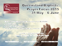 Queensland Baptists' Prayer Focus 2015