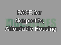 PACE for Nonprofits, Affordable Housing