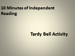 10 Minutes of Independent Reading