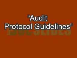 """Audit Protocol Guidelines"""