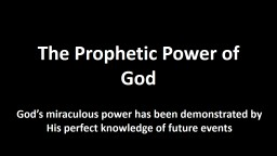 The Prophetic Power of God