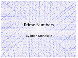 Prime Numbers By Brian Stonelake