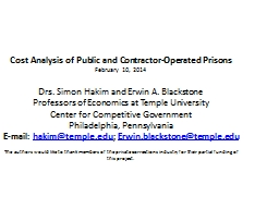 Comparison of prison costs and contractor pricing: towards a more competitivemodel for the prison