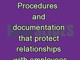Handout 3 Procedures  and documentation that protect relationships with employees