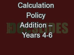 Calculation Policy Addition – Years 4-6