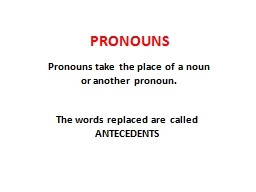 PRONOUNS Pronouns take the place of a noun or another pronoun.