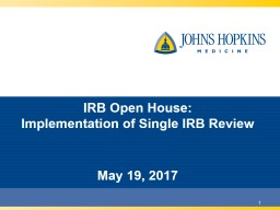1 IRB Open House: Implementation of Single IRB Review