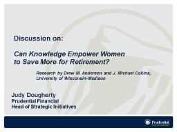 Discussion on:  Can Knowledge Empower Women