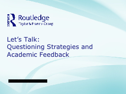 Let's Talk:  Questioning Strategies and
