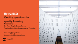 How2MCQ Quality questions for quality learning
