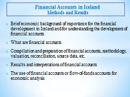 Financial Accounts in Iceland