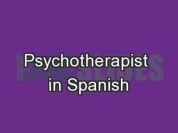Psychotherapist in Spanish