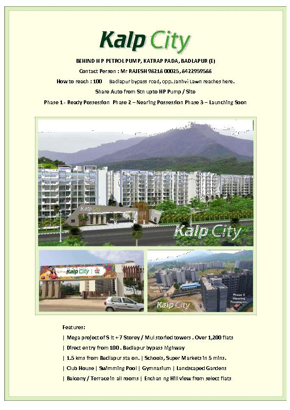 Affordable Homes in Badlapur, 2 BHK flat in Badlapur  5pgroup