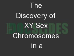 The Discovery of XY Sex Chromosomes in a