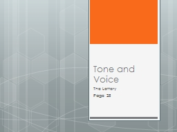 Tone and Voice The Lottery