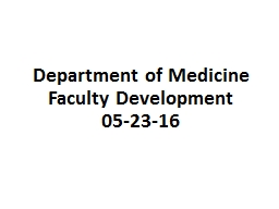 Department of Medicine Faculty Development