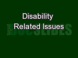 Disability Related Issues PowerPoint PPT Presentation