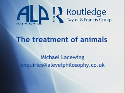 The treatment of animals PowerPoint PPT Presentation