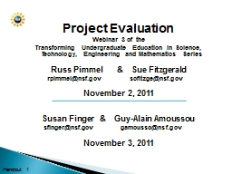Project Evaluation Webinar 3 of the