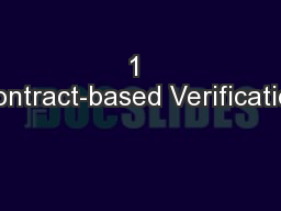 1 Contract-based Verification