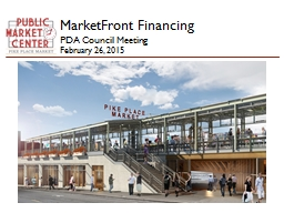 MarketFront Financing  PDA Council Meeting