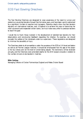 Section   ECB Fast Bowling Directives  June  The Fast